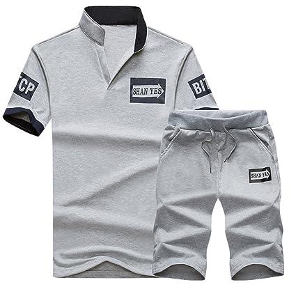 16c64d5defcc1 Set De Ropa Tracksuit 2 Chándal para Hombre Camiseta Y Pantalones Cortos  Deportivas Conjunto De Ropa  Amazon.es  Deportes y aire libre
