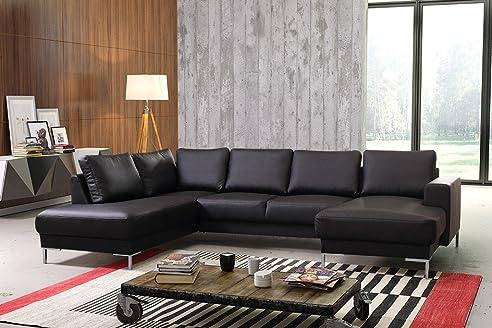 TOP Sofa Couch Ecksofa Eckcouch Wohnlandschaft In Kunstleder Schwarz   SILVIO XXL