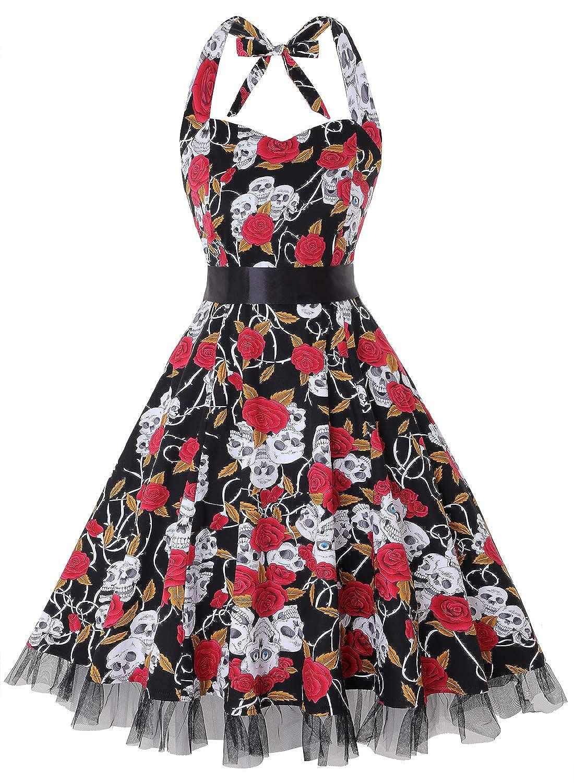 TALLA XL. oten Vestidos 50s Vintage Rockabilly de Halterneck de Cóctel Fiesta de Las Mujeres Skull Rose XL