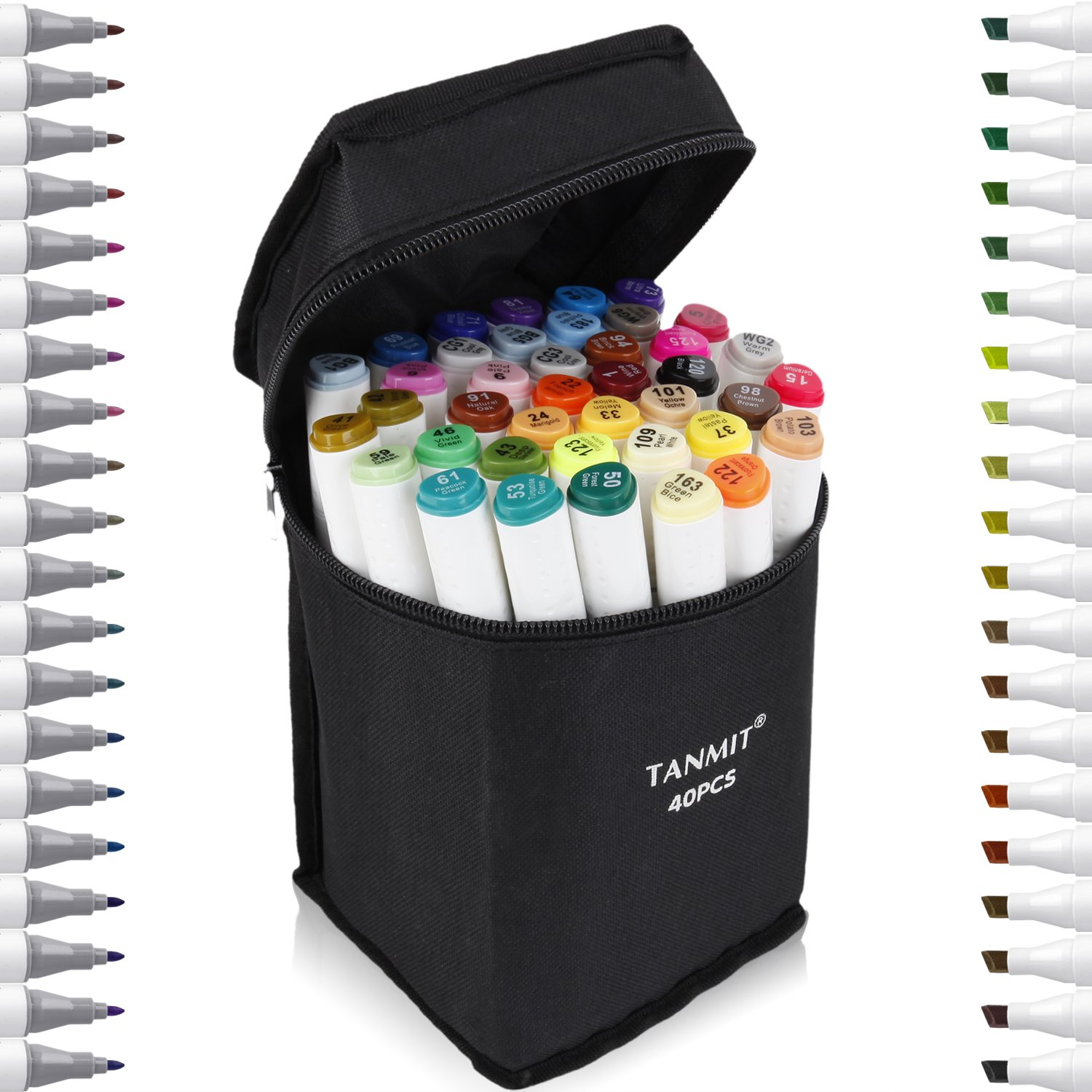 Tanmit 40 Color Dual Tips Art Markers, Permanent Marker Highlighter Pens with Case for Adult Coloring Drawing Sketching Highlighting and Underlining