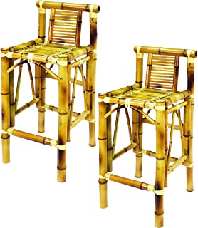 RAM Gameroom Products 28-Inch Bamboo Tiki Bar Stools (Set of 2)  sc 1 st  Amazon.com & Amazon.com: Set of 2 Pieces Bamboo Tiki Bar Stool with Back ... islam-shia.org