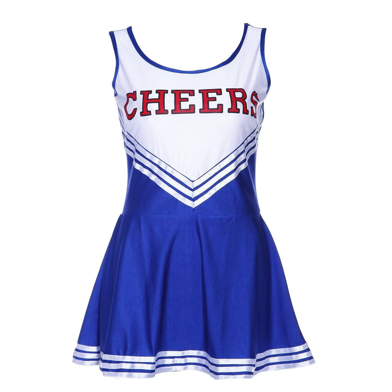 SODIAL(R)Tank Dress Blue fancy dress cheerleader pom pom girl party girl XS 28-30 football school 038439