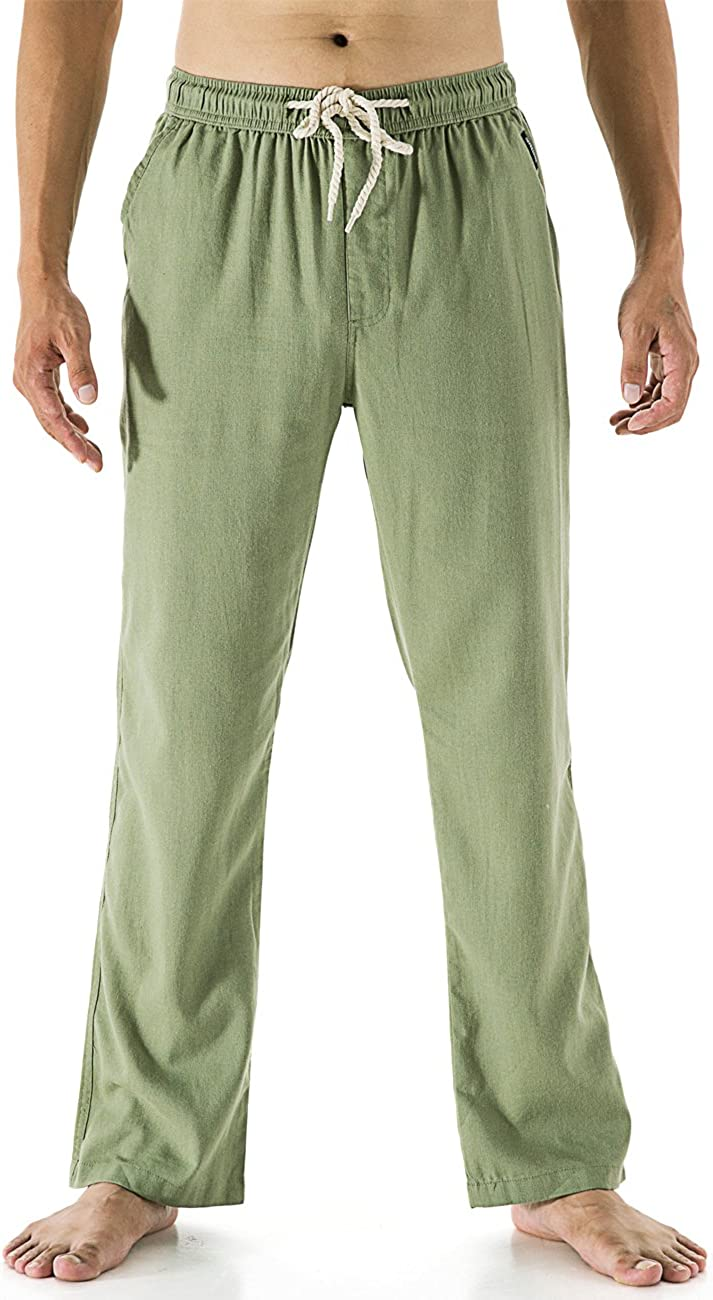 Mens Summer Casual Cotton Linen Loose Drawstring Yoga Pants Trousers Elasticated