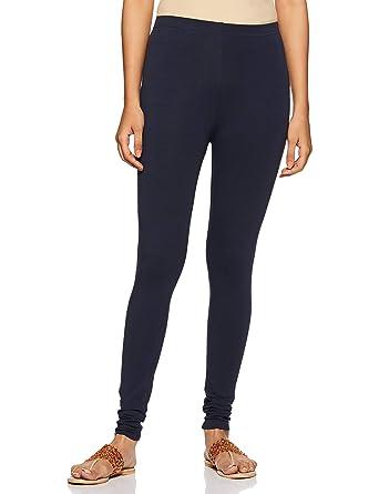 e6cde9a1e2706 De Moza Ladies Ankle Length Leggings Solid Cotton Lycra Dark Navy Blue XS