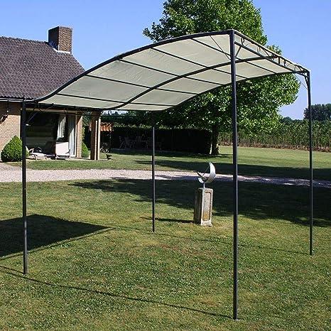Tidyard Pérgola, Gazebo, Toldo, Cenador para Jardín, Patio o Terraza de Protector Solar Exterior 3 x 2,5 m Blanco Crema y Negro