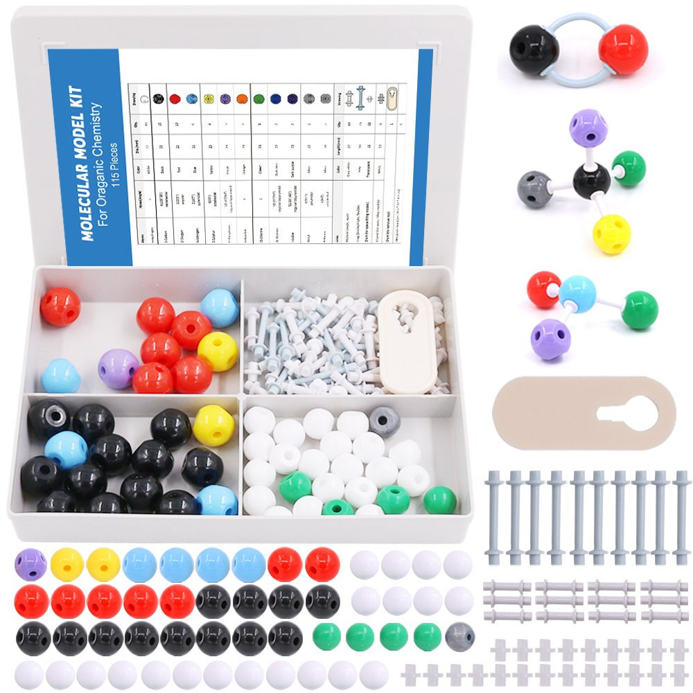 Swpeet 115 Pcs Organic Chemistry Molecular Model Student and Teacher Kit, Molecular Model Set for Inorganic & Organic Chemistry - 50 Atoms & 64 Links & 1 Short Link Remover
