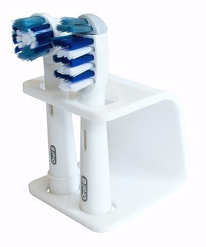 Seemii - Soporte para cabezales de cepillo de dientes electrónico, Soporta 2 ó 4 cabezales, Soporte Oral-B cabezales, Blanco (2)