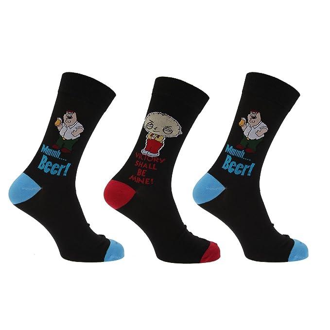 Family Guy - Pack de 3 hombre novedad calcetines en negro - varios colores: Amazon.es: Ropa y accesorios