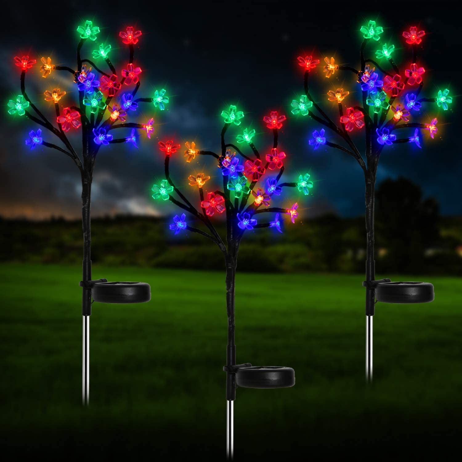 Beinhome Solar Garden Lights Outdoor Decorative 3 Pack Colorful LED Solar Powered Peach Flower Landscape Stake Lights for Yard Pathway Deck Patio Party Christmas