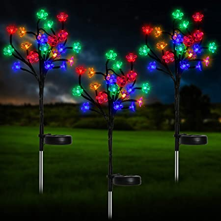 Amazon Com Beinhome Solar Garden Lights Outdoor Decorative 3 Pack Colorful Led Solar Powered Peach Flower Landscape Stake Lights For Yard Pathway Deck Patio Party Christmas Garden Outdoor