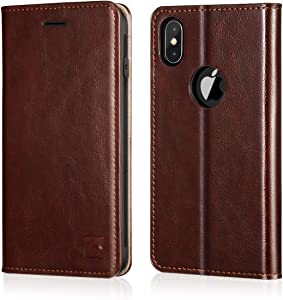 Belemay iPhone X Wallet Case, iPhone 10 Case, Genuine Cowhide Leather Flip Case Slim Fit Folio Cover [Durable Soft TPU Inner Case] Card Holder Slots, Kickstand, Cash Pockets Compatible iPhone X, Brown