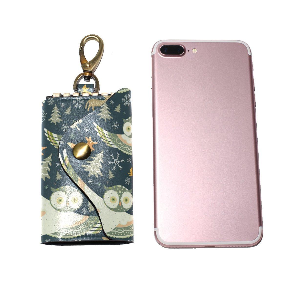 DEYYA Trendsetter Owl Leather Key Case Wallets Unisex Keychain Key Holder with 6 Hooks Snap Closure