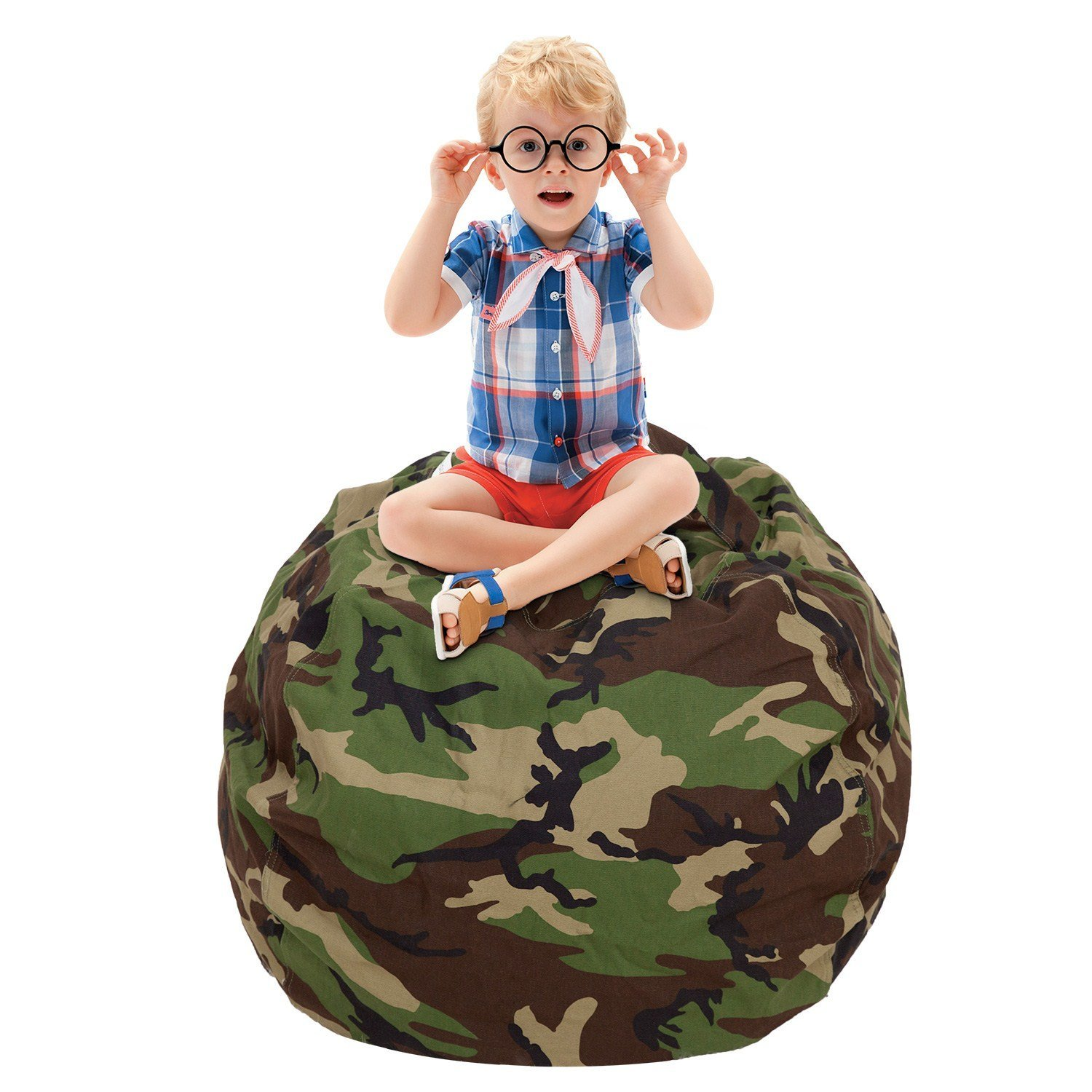 CALA Stuffed Animal Storage Bean Bag Chair- EXTRA LARGE 38'' Kids Soft Toy Storage - 100% Cotton Canvas Bean Bag Chair(Camouflage)