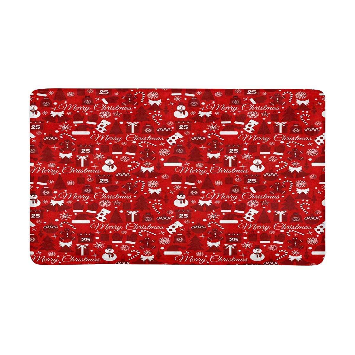 InterestPrint Merry Christmas Doormat Non Slip Indoor/Outdoor Doormat Floor Mat Home Decor, Entrance Rug Rubber Backing 30 X 18 Inches