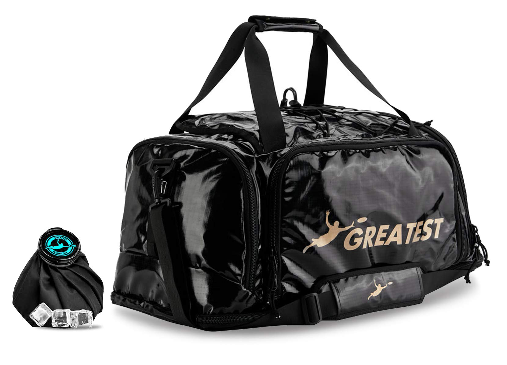 GREATEST Ultimate Bag 60 Liter - #1 World's Ultimate Frisbee Bag. Built in Insulated Cooler Compartment and Organization System. Also Perfect Sports Duffel Bag for Other Outdoor Sports (GOLD) by GREATEST