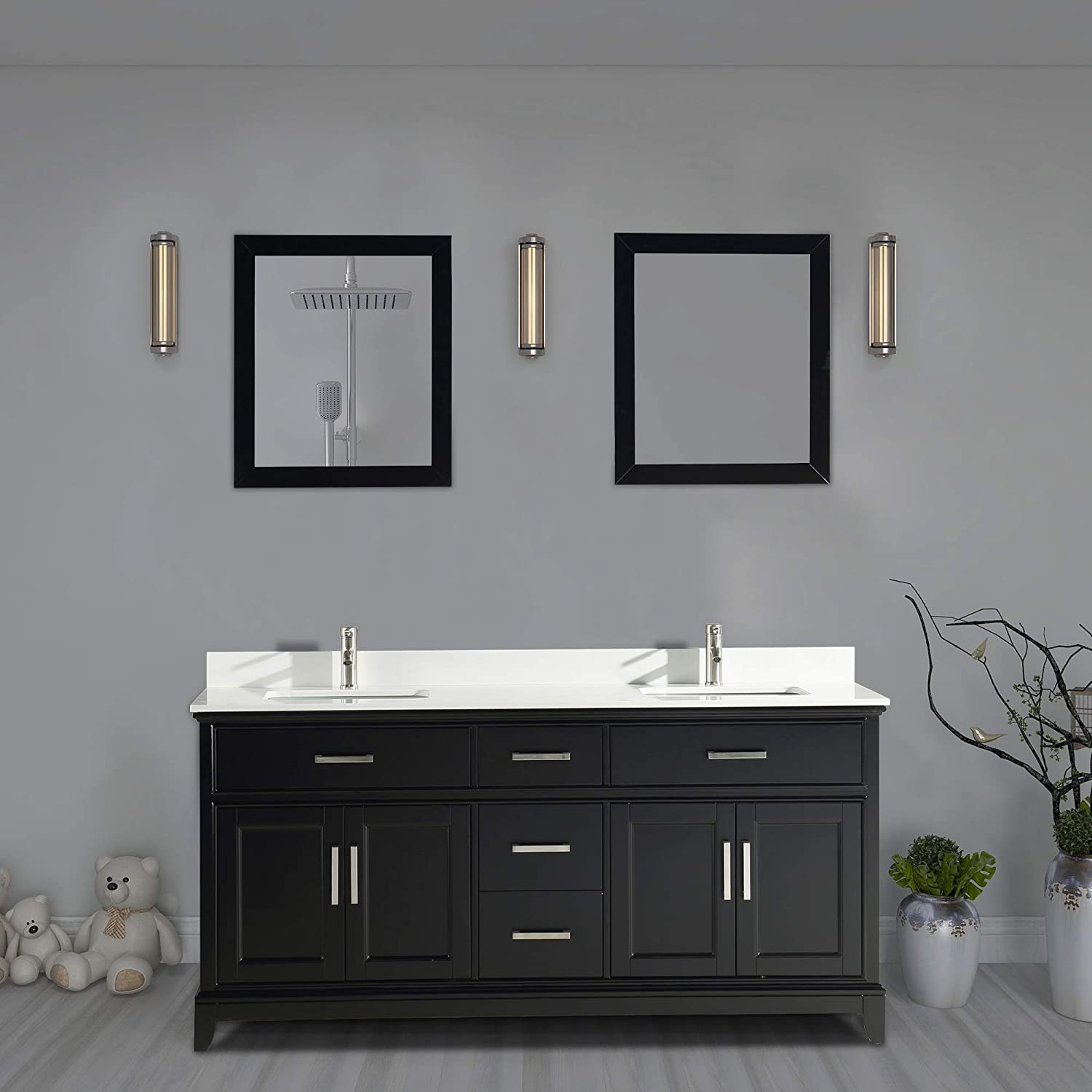 Vanity Art 72 Inch Double Sink Bathroom Vanity Set Super White Phoenix Stone, Soft Closing Doors Undermount Rectangle Sinks with Two Free Mirror – VA1072-DE