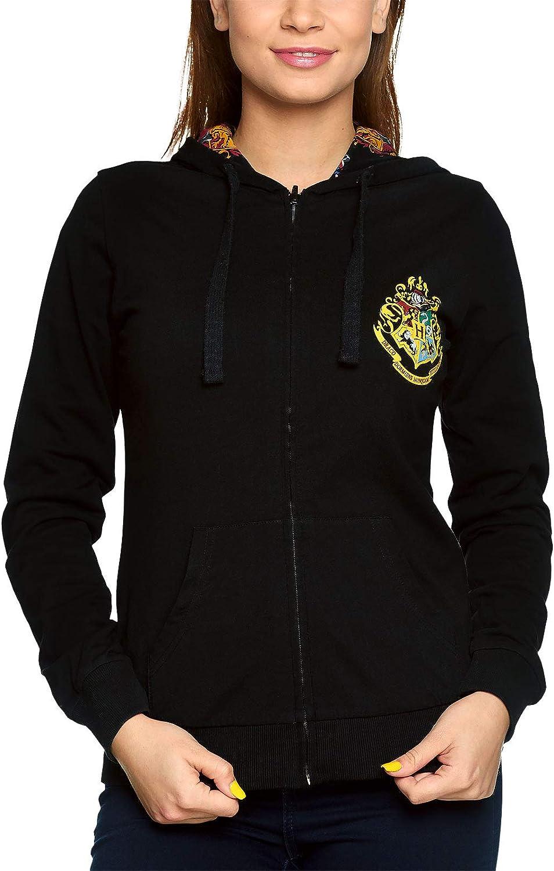 Chaqueta con Capucha de Harry Potter para Mujeres Que da Vuelta a Hogwarts Houses Escudo de Armas Elbenwald Cotton Black