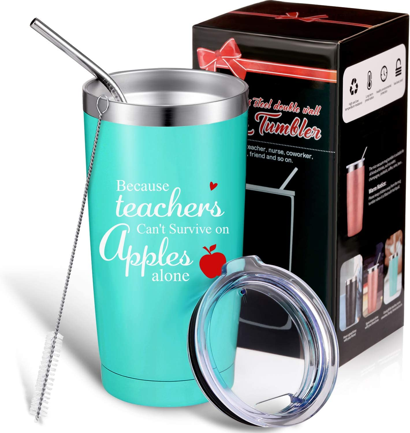 Boao Teachers Appreciation Gift, Printed with Teachers Can't Survive on Apples Alone, Personalized Thank You Teacher Gift for Science, Art, Assistant, 20 oz Double Wall Vacuum Insulated Tumbler Mug