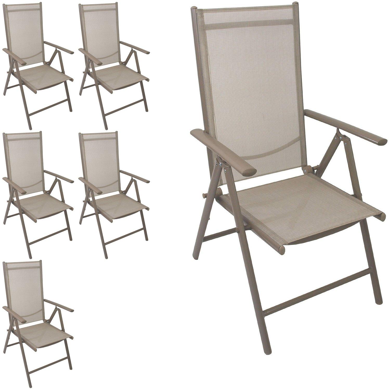 Multistore 2002 6 Stück Aluminium Hochlehner Positionsstuhl klappbar Liegestuhl mit robuster Textilenbespannung Lehne 7-Positionen verstellbar Gartenstuhl