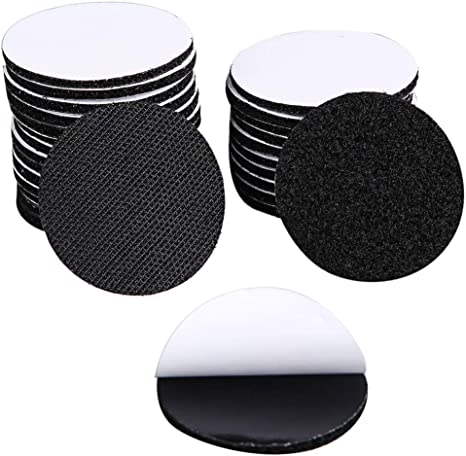 Heavy Duty Mounting Adhesive Tape,6pairs//4inch Diameter Industrial Strength Hook Loop Dots Double Sided Sticky Back Carpet Gripper Pad Wall Mounting Coins Black