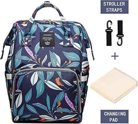 Baby Changing Bag Backpack Floral Diaper Nappy Backpack Rucksack Multifunction Large Capacity Hospital Maternity Bags for Mom and Dad Black