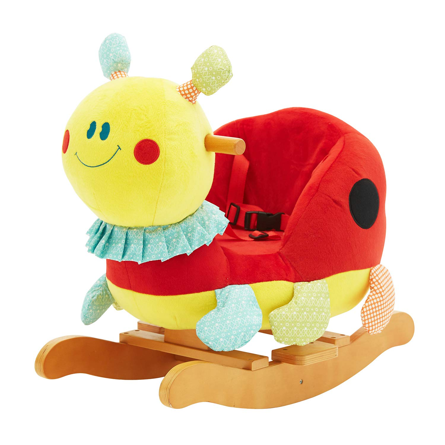 labebe 【New】 Bee Rocker Toy, Plush Rocking Horse for Baby 1-3 Year Old, Wooden Kid Ride On Toy for Girl&Boy, Infant Stuffed Riding Animal for Outdoor&Indoor, Toddler/Child Christmas or Birthday Gift