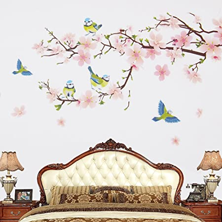 Wopeite floral wall decal sticker diy self adhesive flower peach blossom tree branch instant for