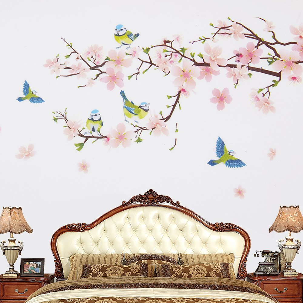 Wopeite Floral Wall Decal Sticker Self - Adhesive Flower Peach Blossom Tree Branch Instant Wall Decal Sticker for Living Room Bedroom 45 X 60 cm by Wopeite (Image #3)