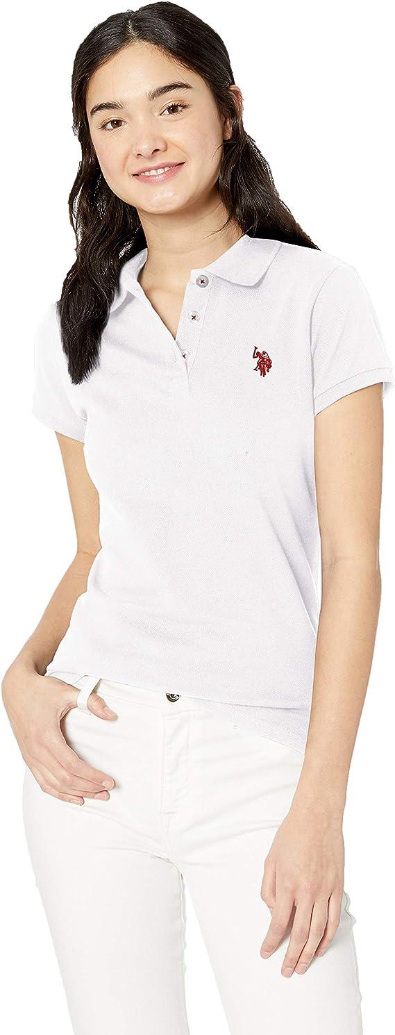 U.S. POLO ASSN. Mujer 26-3900-8N Manga Corta Camisa Polo - Blanco ...