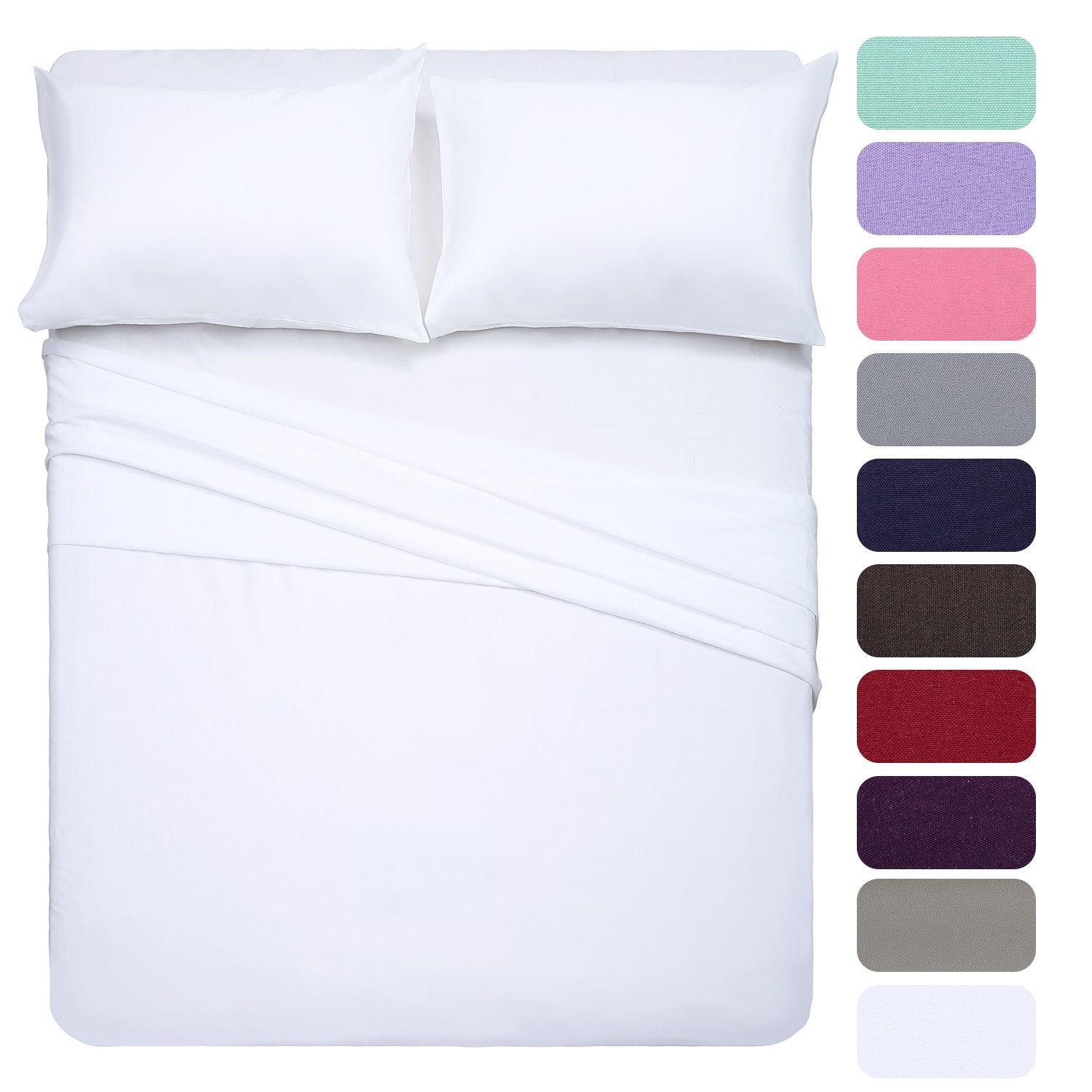 Full Size Bed Sheet Set - 4 Piece(White),Microfiber 1800 Threads Egyptian Super Soft Sheets 16-Inch Deep Pocket - Hypoallergenic Bedding by Homelike Collection