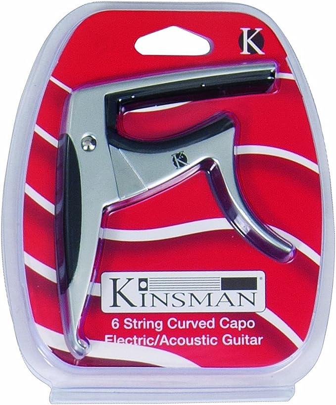 Cejilla para guitarras el/éctricas y ac/ústicas color cromo Kinsman KAC303 doblada