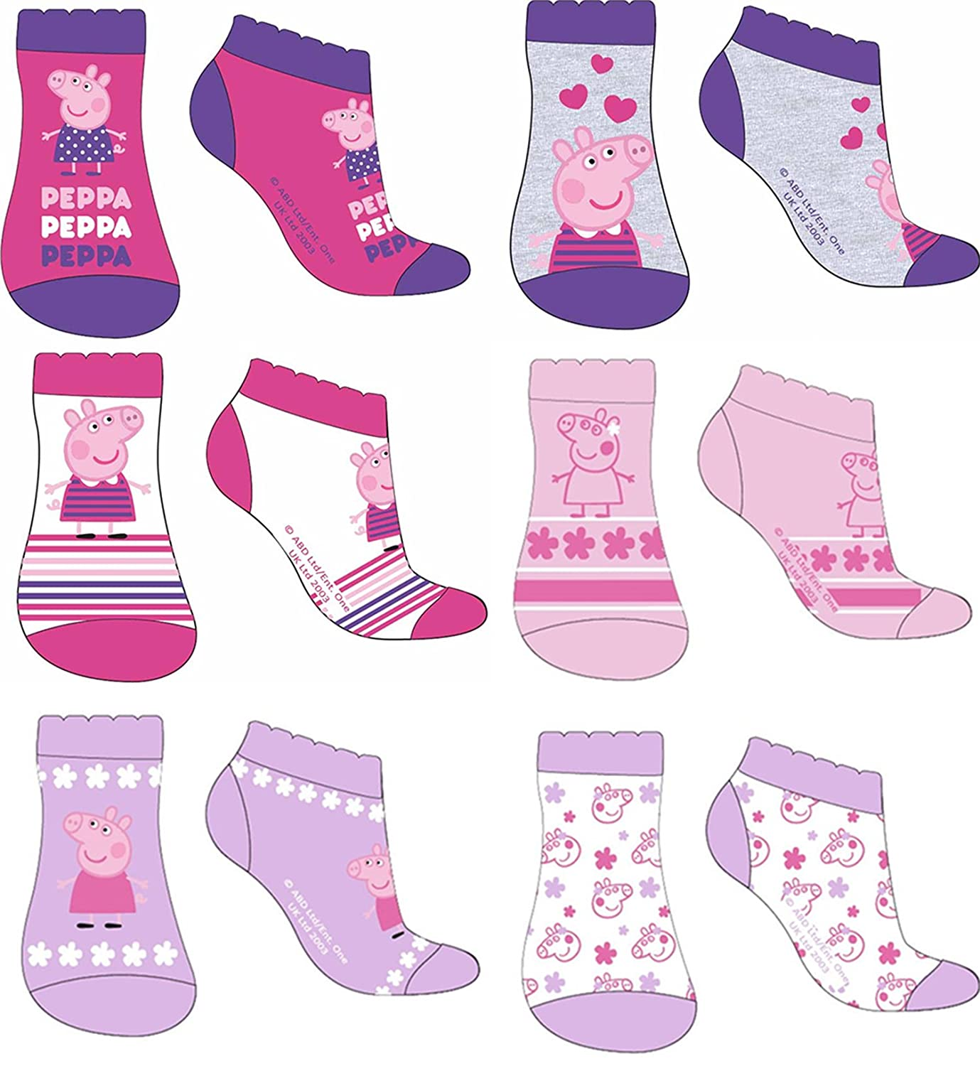 Girls Peppa Pig Socks - Cotton - Pack of 6