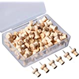 eBoot 100 Pieces Wood Push Pins Wooden Thumb Tacks with Organizing Container for Home Office Craft Projects, Natural Color