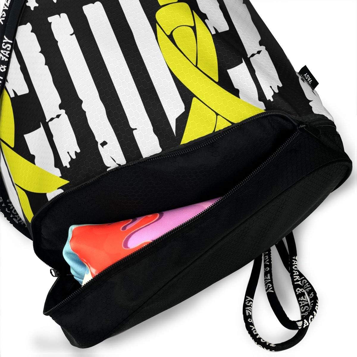 Bladder Cancer Awareness USA Flag-1 Drawstring Bag Multifunctional String Backpack Custom Cinch Backpack Rucksack Gym Bag