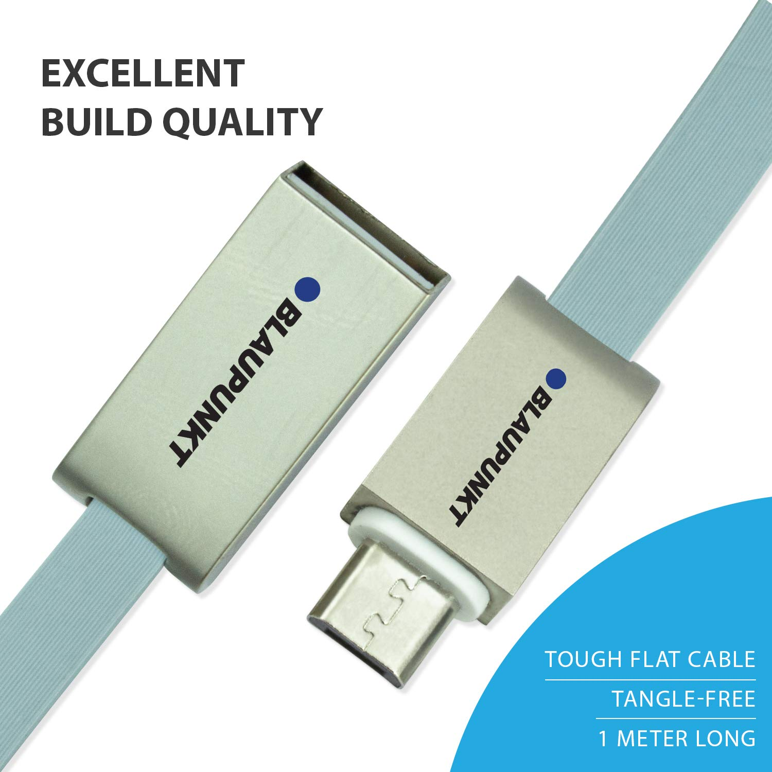 Blaupunkt Highly Durable Micro to USB 2.0 Flat Cable with High Speed Charging and Quick Data Sync for All USB Powered Devices (Grey)
