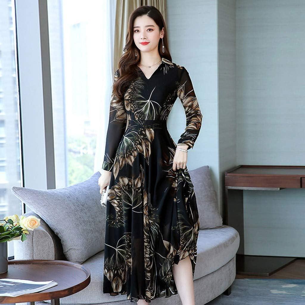 Kaister Women Dresses Elegant V-Neck Long Sleeve Floral Print Ankle-Length Long A-line Dress