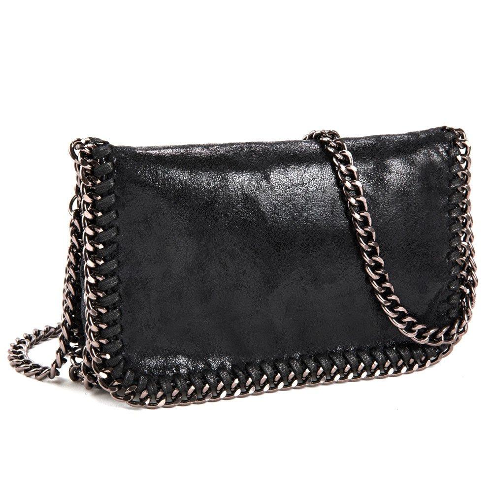 5cd953a3ea3ba5 Amazon.com: J&K Crossbody Bags for Women Synthetic Leather Purse Bag  Paillette Hobo Clutch Shoulder Handbags with Classic Metal Chain Black:  Home & Kitchen