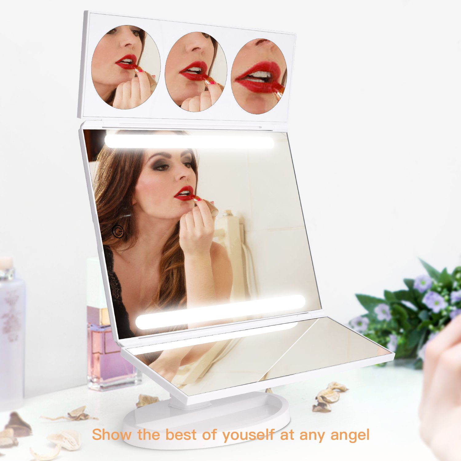 BESTOPE Makeup Mirror Oversize 18.8inch Lighted Vanity Mirror with 10X/5X/3X Magnification, 26 LED Light Trifold Cosmetic Mirror with 360° Rotation and Touch Screen by BESTOPE (Image #6)