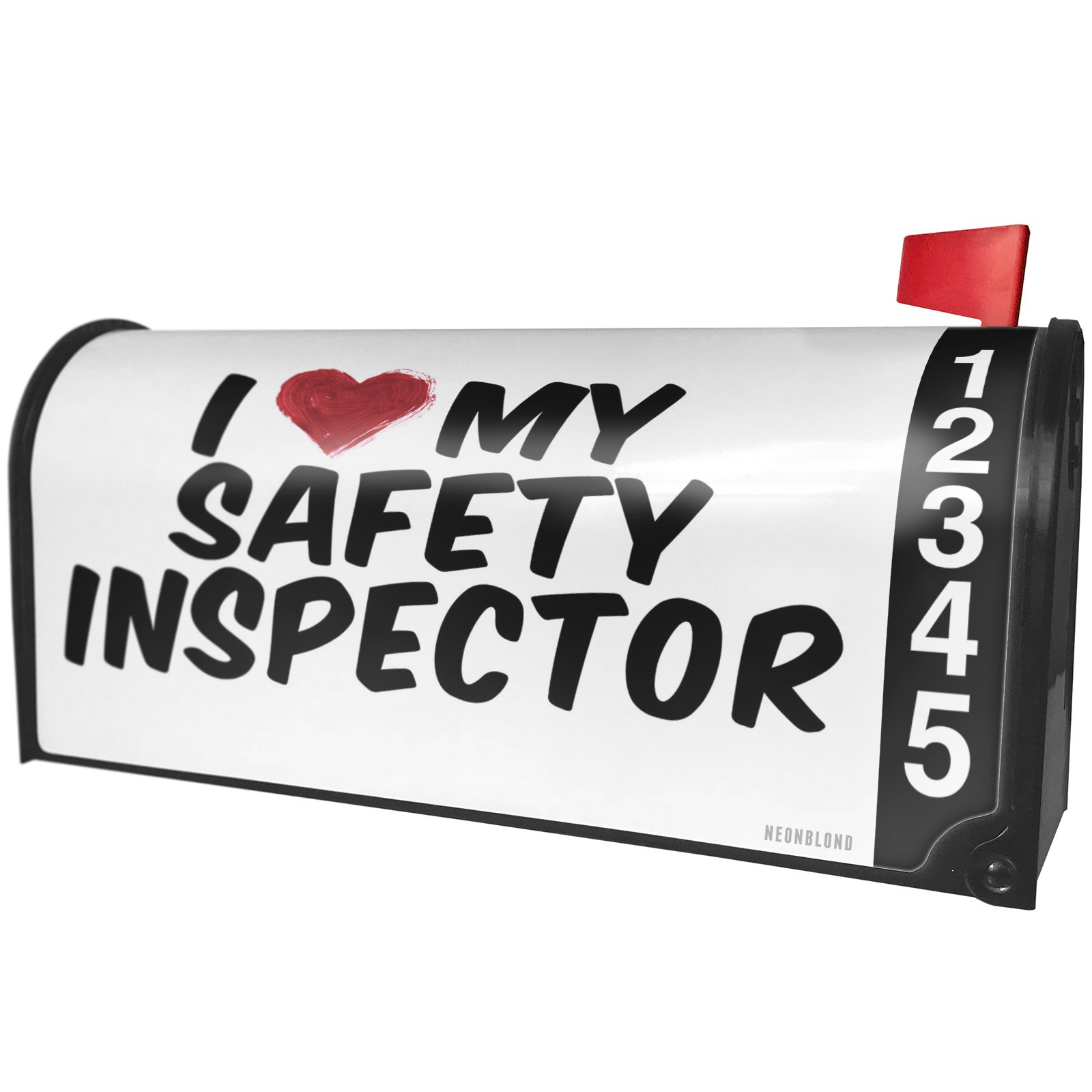 NEONBLOND I Heart Love My Safety Inspector Magnetic Mailbox Cover Custom Numbers