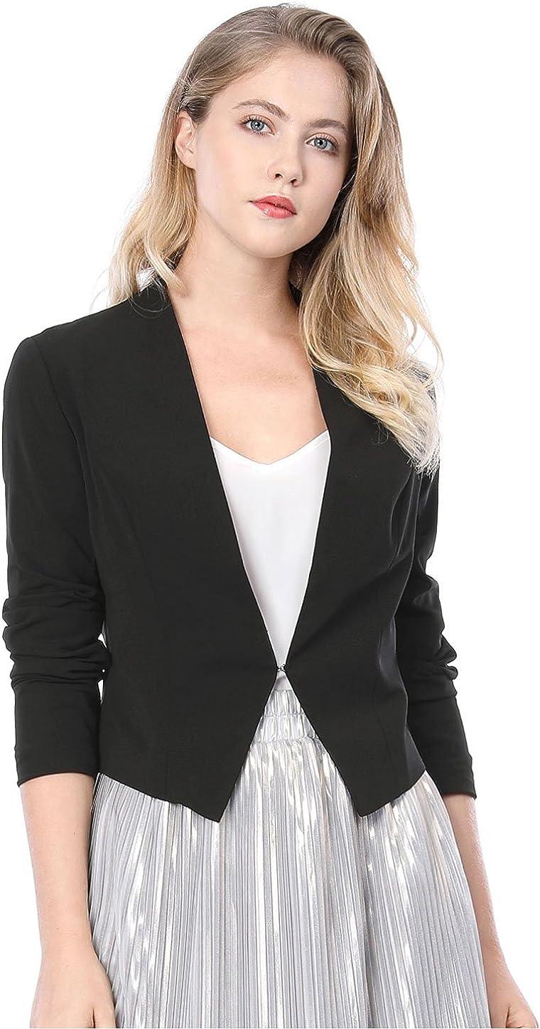 Allegra K Women's Collarless Work Office Business Casual Cropped Blazer