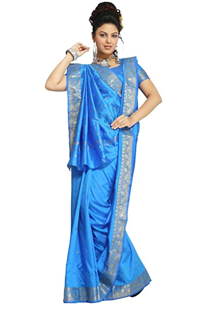 Selecciones de la India – Isla azul Art Seda Saree sari tela india Golden Border