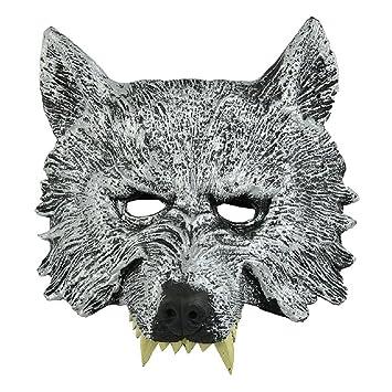 SODIAL(R) Gris Mascara de cabeza de lobo para Cosplay Halloween Mascarada: Amazon.es: Juguetes y juegos