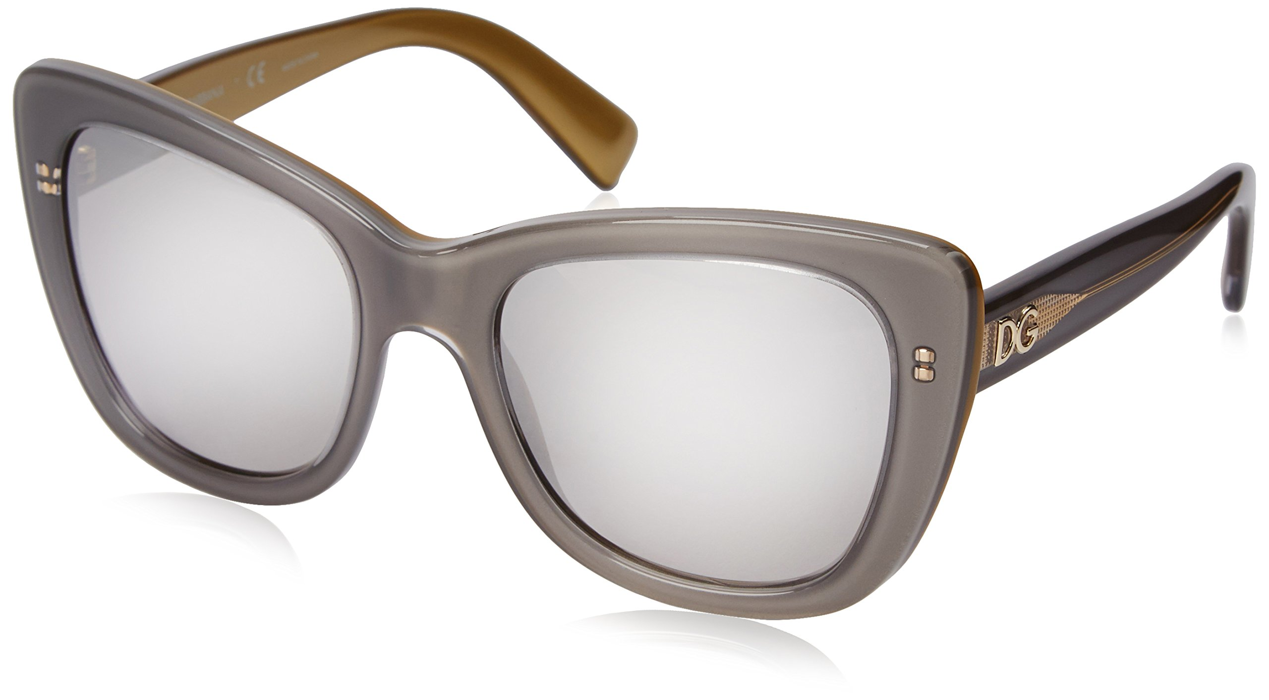 D&G Dolce & Gabbana Womens 0DG4260 Cateye Sunglasses, Top Grey On Gold, 50 mm