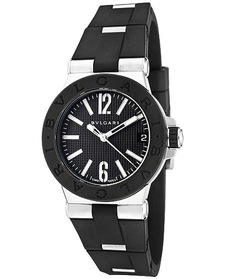 Bulgari dg29bsvd diagono de la mujer negro goma y SS negro Textured Dial reloj