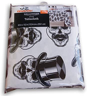 Spooky Town Halloween Elegant Skulls Pattern Rectangular Vinyl Tablecloth (60 x 102 Inches)