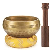 Moukey Tibetan Singing Bowl 3.2 Inch Meditation Gong Zen Yoga Bowl Set With Wooden Striker And Cushion Pillow