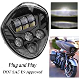 PROAUTO 60w Cree Chip Black Motorcycle Headlights Assembly IP67 LED Motorcycle Headlamp Kit for Victory Motorcycle Headlight Accessory LED Motorcycle Lights Victory Motorcycles Cross Country Series