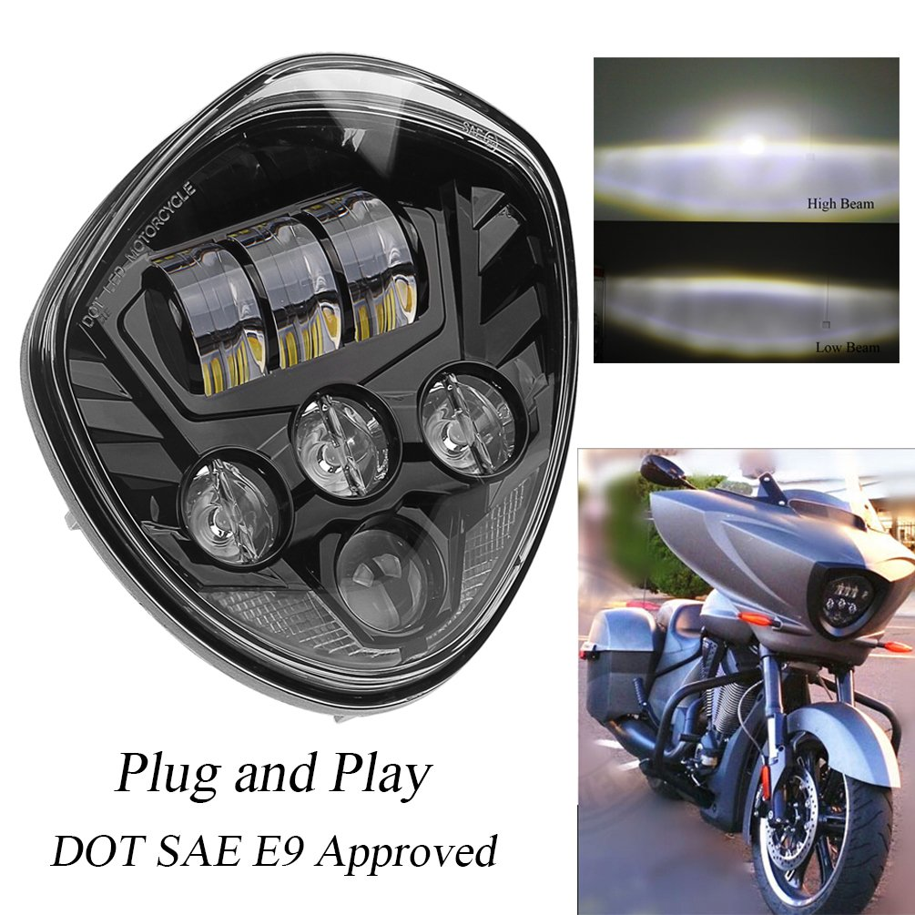 PROAUTO 60w Cree Chip Black Motorcycle Headlights Assembly IP67 LED Motorcycle Headlamp Kit for Victory Motorcycle Headlight Accessory LED Motorcycle Lights Victory Motorcycles Cross Country Series by PROAUTO