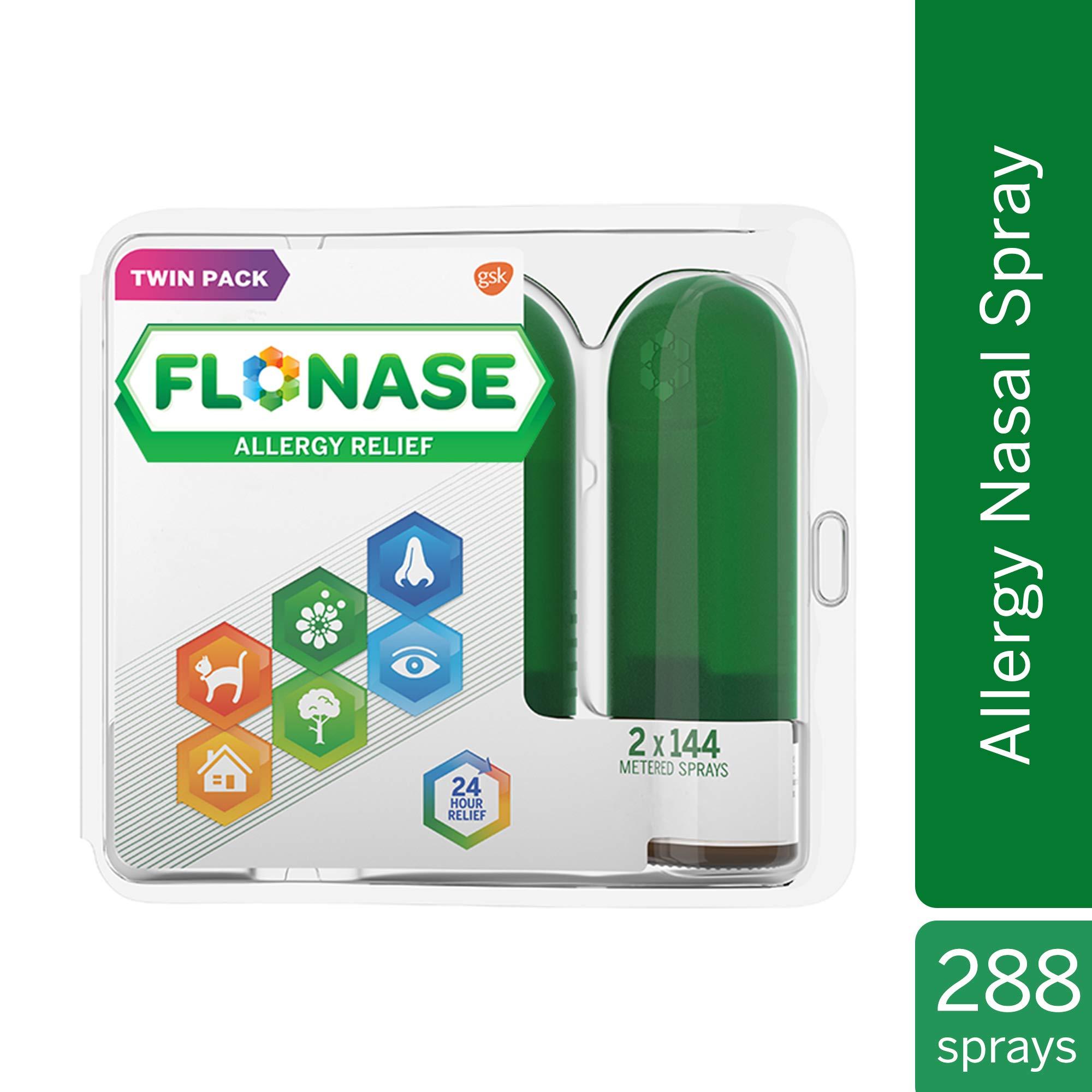 Flonase Allergy Relief Nasal Spray, Allergy Medicine 24 Hour Non-Drowsy , 288 sprays (pack of 2) by Flonase
