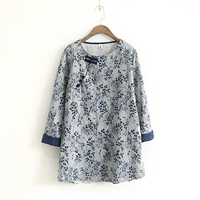 Henraly Workout-and-training-shirts Women Print Floral Shirts Vintage Button Loose New Autumn New Casual Chinese Style Cotton Linen Tops Original Blouse